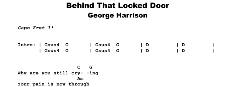 George Harrison - Behind That Locked Door Guitar Lesson Chords & Songsheet Preview