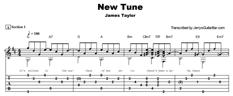 James Taylor - New Tune Guitar Lesson Tab Preview