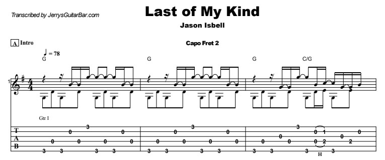 Jason Isbell - Last of My Kind Guitar Lesson Tab Preview