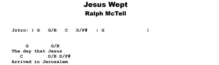 Ralph McTell - Jesus Wept Guitar Lesson Chords & Songsheet Preview