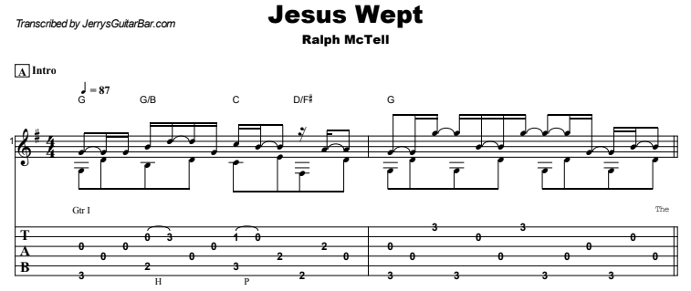 Ralph McTell - Jesus Wept Guitar Lesson Tab Preview
