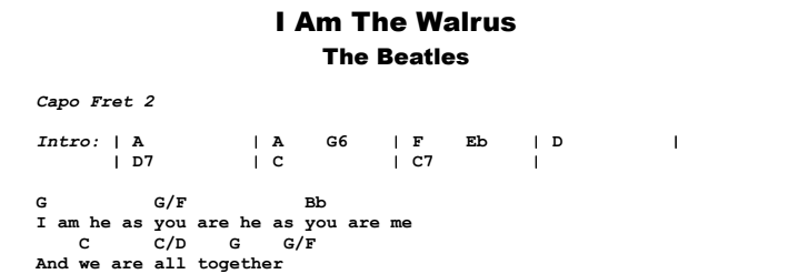 The Beatles - I Am The Walrus Guitar Lesson Chords & Songsheet Preview