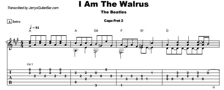 The Beatles - I Am The Walrus Guitar Lesson Tab Preview