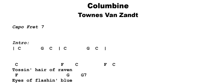 Townes Van Zandt - Columbine Guitar Lesson Chords & Songsheet Preview