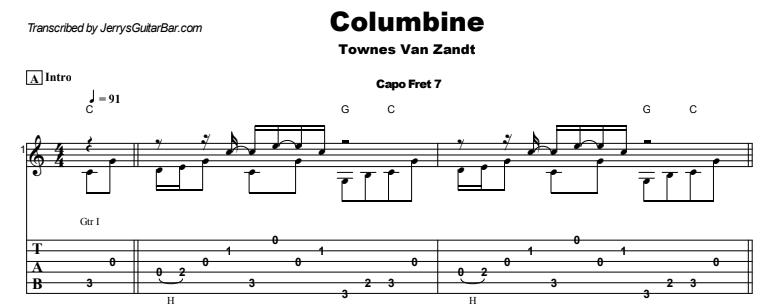 Townes Van Zandt - Columbine Guitar Lesson Tab Preview