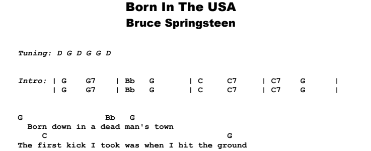 Bruce Springsteen - Born In The USA Guitar Lesson Chords & Songsheet Preview