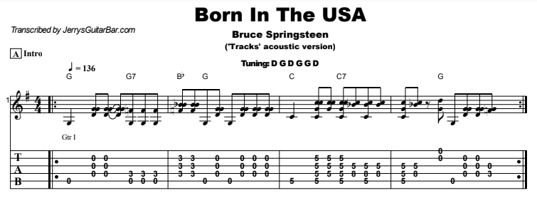 Bruce Springsteen - Born In The USA Guitar Lesson Tab Preview