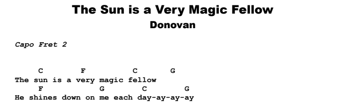 Donovan - The Sun is a Very Magic Fellow Guitar Lesson Chords & Songsheet Preview