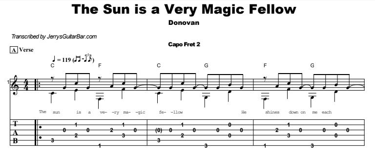 Donovan - The Sun is a Very Magic Fellow Guitar Lesson Tab Preview