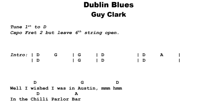 Guy Clark - Dublin Blues Guitar Lesson Chords & Songhseet Preview
