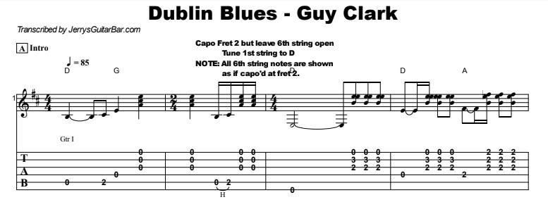 Guy Clark - Dublin Blues Guitar Lesson Tab Preview
