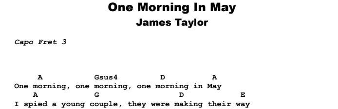 James Taylor - One Morning In May Guitar Lesson Chords & Songsheet Preview