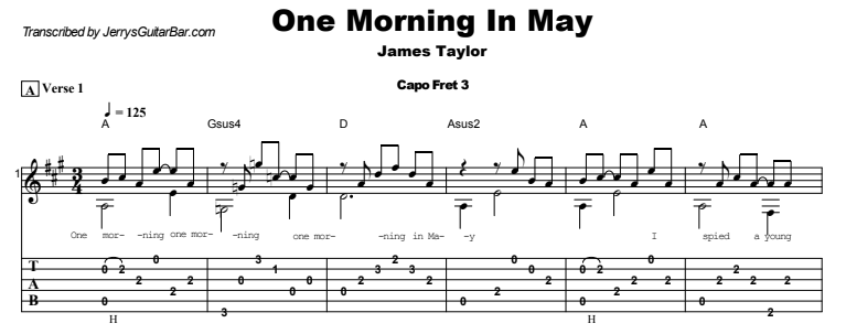 James Taylor - One Morning In May Guitar Lesson Tab Preview