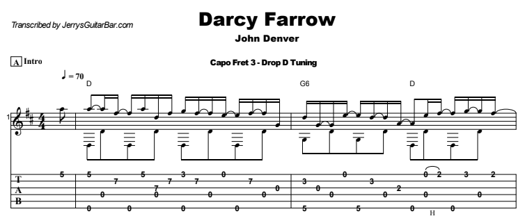 John Denver - Darcy Farrow Guitar Lesson Tab Preview