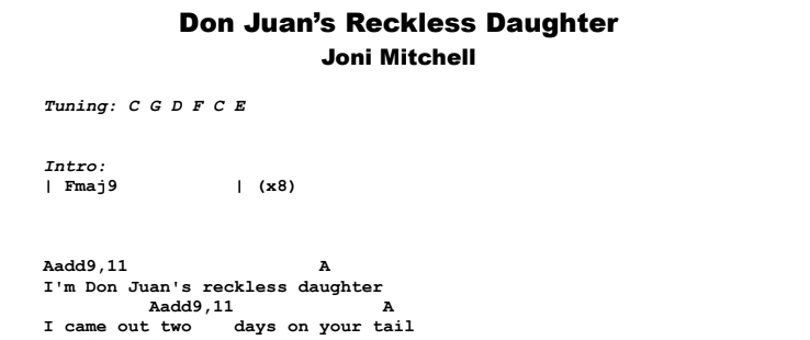 Joni Mitchell - Don Juan's Reckless Daughter Guitar Lesson Chords & Songsheet Preview