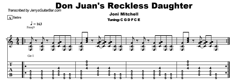 Joni Mitchell - Don Juan's Reckless Daughter Guitar Lesson Tab Preview