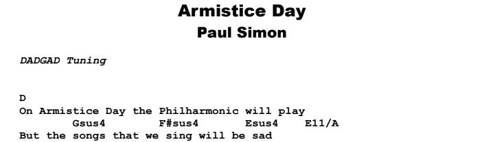 Paul Simon - Armistice Day Guitar Lesson Chords & Songsheet Preview