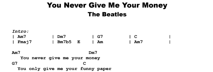 The Beatles - You Never Give Me Your Money Guitar Lesson Chords & Songsheet Preview