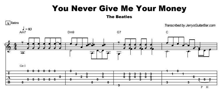 The Beatles - You Never Give Me Your Money Guitar Lesson Tab Preview