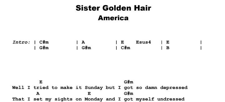 America - Sister Golden Hair Guitar Lesson Chords & Songsheet Preview