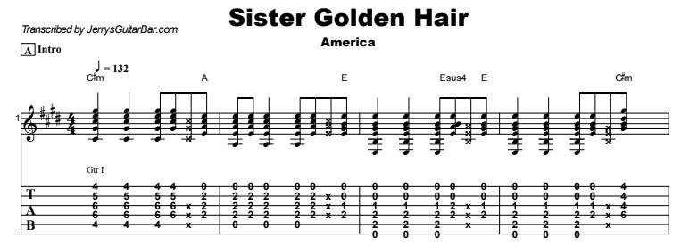 America - Sister Golden Hair Guitar Lesson Tab Preview