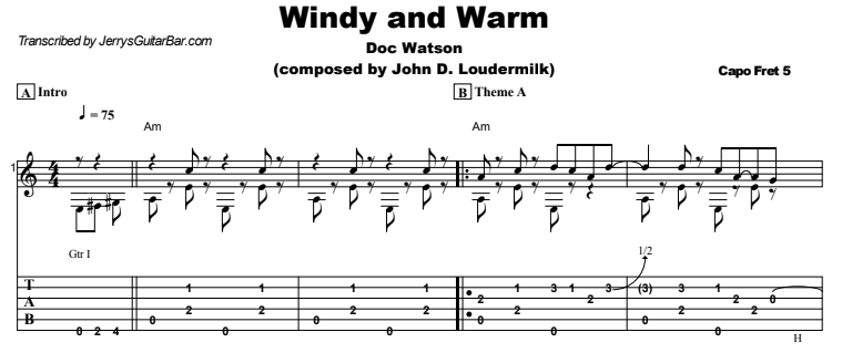 Doc Watson - Windy and Warm Guitar Lesson Tab Preview