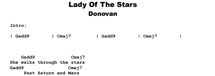 Donovan - Lady Of The Stars Guitar Lesson Chords & Songsheet Preview