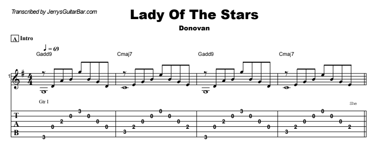 Donovan - Lady Of The Stars Guitar Lesson Tab Preview