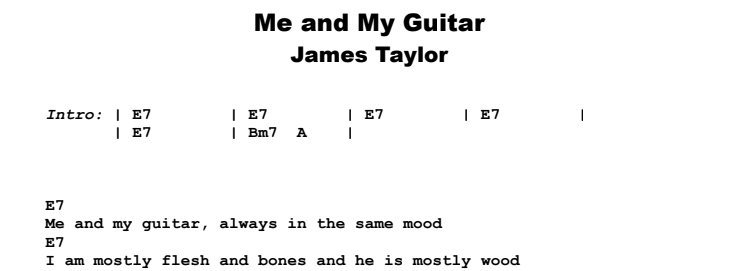 James Taylor - Me and My Guitar Guitar Lesson Chords & Songsheet Preview