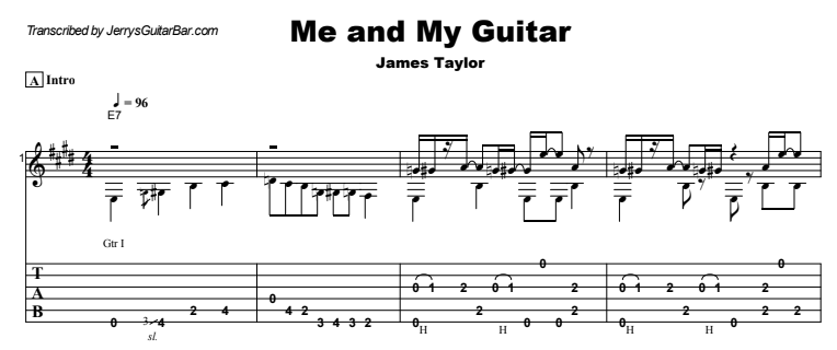 James Taylor - Me and My Guitar Guitar Lesson Tab Preview
