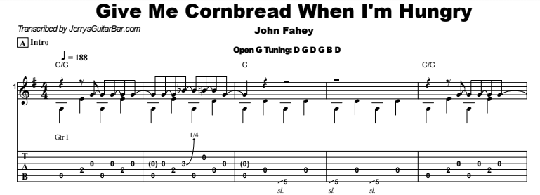 John Fahey - Give Me Cornbread When I'm Hungry Guitar Lesson Tab Preview