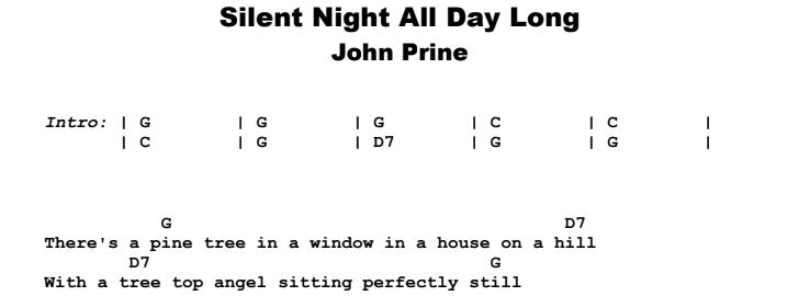 John Prine - Silent Night All Day Long Guitar Lesson Chords & Songsheet Preview