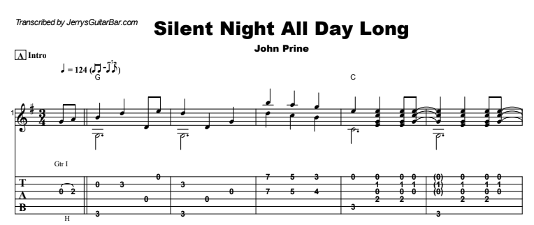 John Prine - Silent Night All Day Long Guitar Lesson Tab Preview