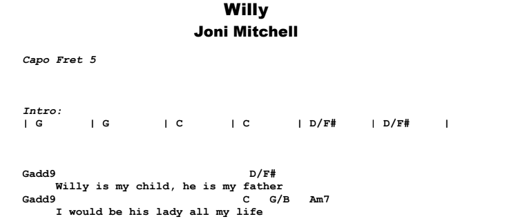 Joni Mitchell - Willy Guitar Lesson Chords & Songsheet Preview