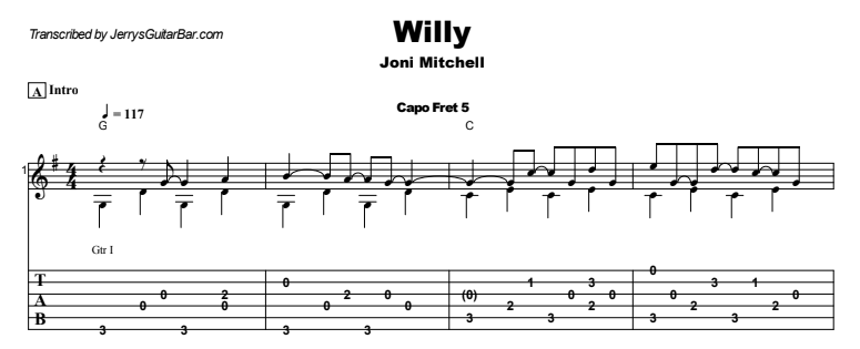 Joni Mitchell - Willy Guitar Lesson Tab Preview