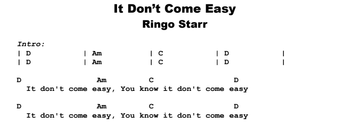 Ringo Starr - It Don't Come Easy Guitar Lesson Chords & Songsheet Preview
