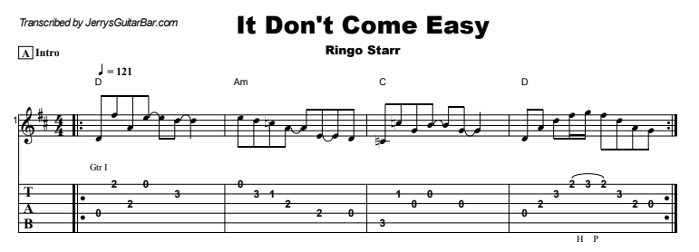 Ringo Starr - It Don't Come Easy Guitar Lesson Tab Preview