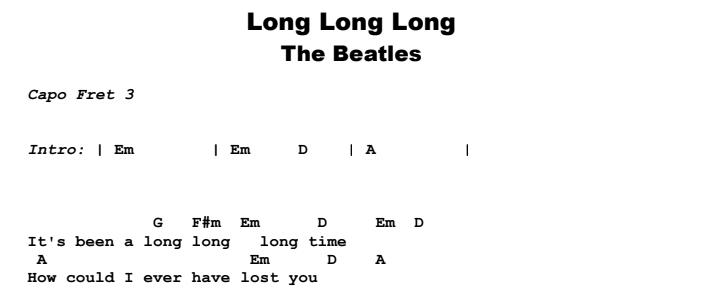 The Beatles - Long, Long, Long Guitar Lesson Chords & Songsheet Preview