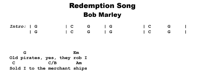 Bob Marley - Redemption Song Guitar Lesson Chords & Songsheet Preview