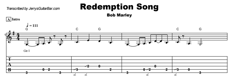 Bob Marley - Redemption Song Guitar Lesson Tab Preview