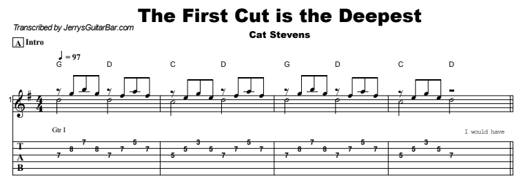 Cat Stevens - The First Cut Is The Deepest Guitar Lesson Tab Preview