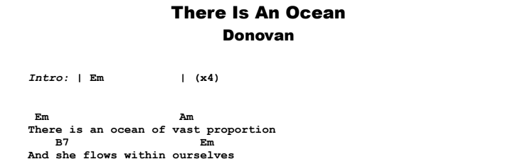Donovan - There Is An Ocean Guitar Lesson Chords & Songsheet Preview