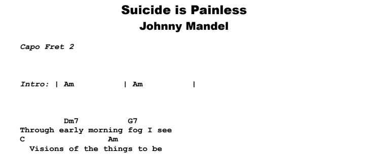 Johnny Mandel – Suicide is Painless (Theme From M.A.S.H.) Guitar Lesson Chords & Songsheet Preview