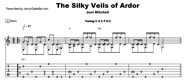 Joni Mitchell - The Silky Veils of Ardor Guitar Lesson Tab Preview