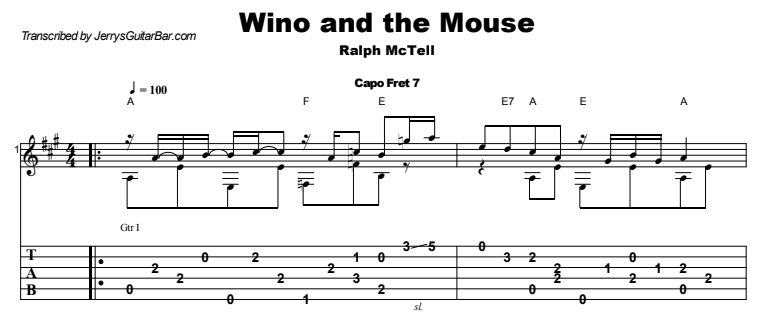 Ralph McTell - Wino and the Mouse Guitar Lesson Tab Preview