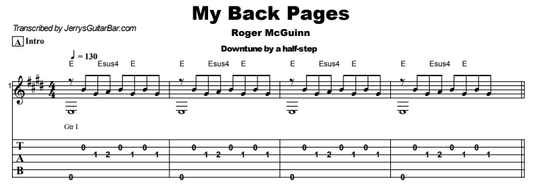 Roger McGuinn - My Back Pages Guitar Lesson Tab Preview