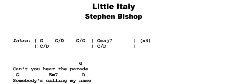 Stephen Bishop - Little Italy Guitar Lesson Chords & Songsheet Preview