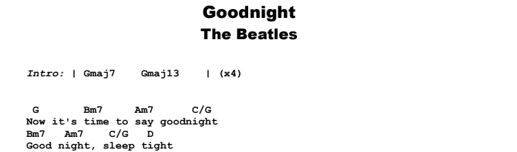 The Beatles - Goodnight Guitar Lesson Chords & Songsheet Preview