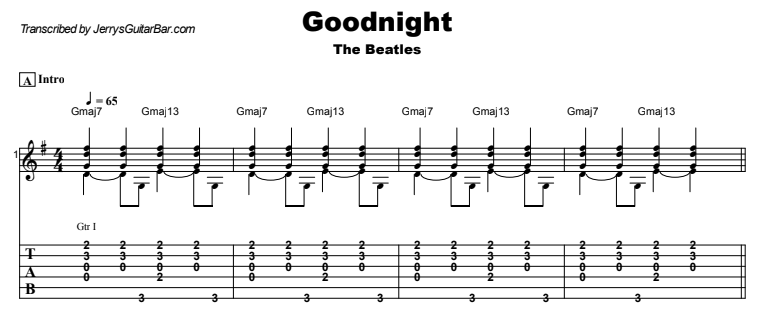 The Beatles - Goodnight Guitar Lesson Tab Preview