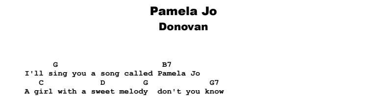 Donovan - Pamela Jo Guitar Lesson Tab Preview Chords & Songsheet Preview